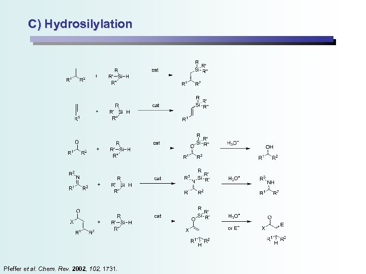 C) Hydrosilylation Pfeffer et al. Chem. Rev. 2002, 1731.