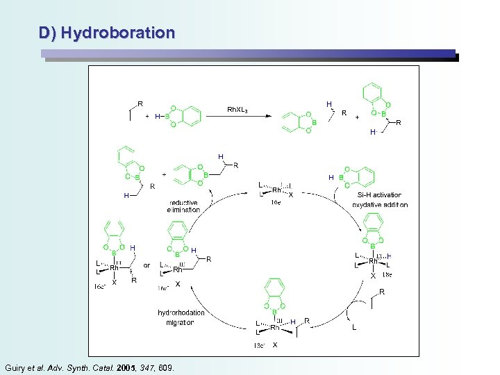 D) Hydroboration Guiry et al. Adv. Synth. Catal. 2005, 347, 609.