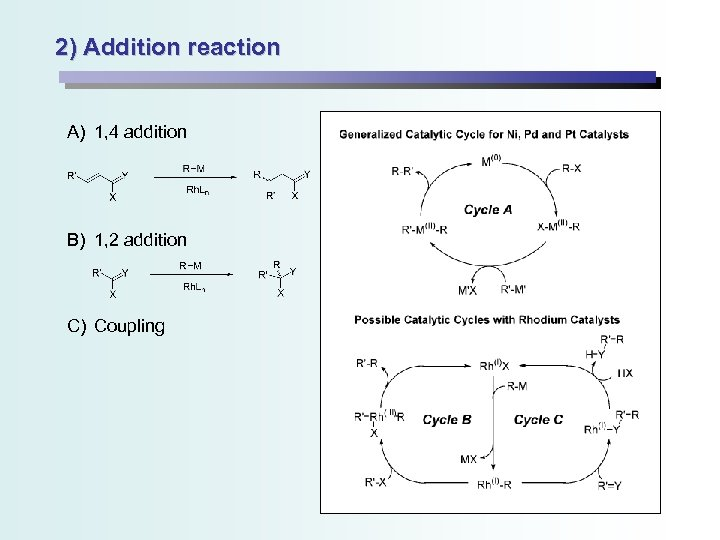 2) Addition reaction A) 1, 4 addition B) 1, 2 addition C) Coupling
