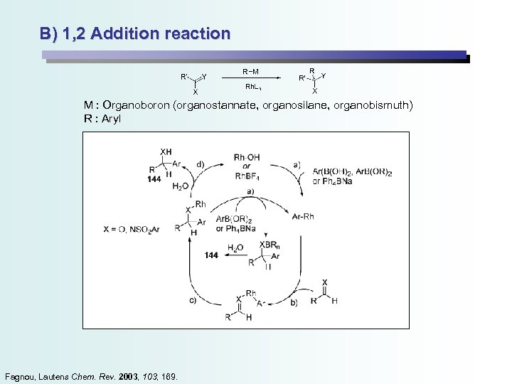 B) 1, 2 Addition reaction M : Organoboron (organostannate, organosilane, organobismuth) R : Aryl