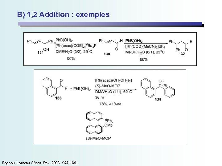 B) 1, 2 Addition : exemples Fagnou, Lautens Chem. Rev. 2003, 169.