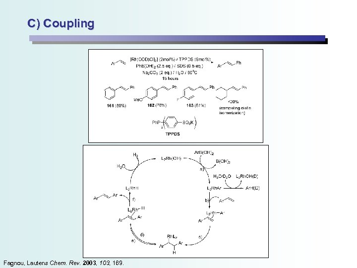 C) Coupling Fagnou, Lautens Chem. Rev. 2003, 169.