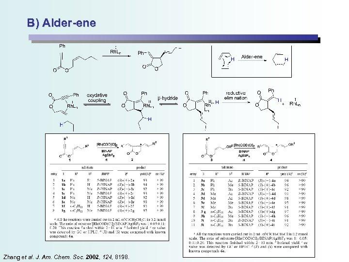 B) Alder-ene Zhang et al. J. Am. Chem. Soc. 2002, 124, 8198.