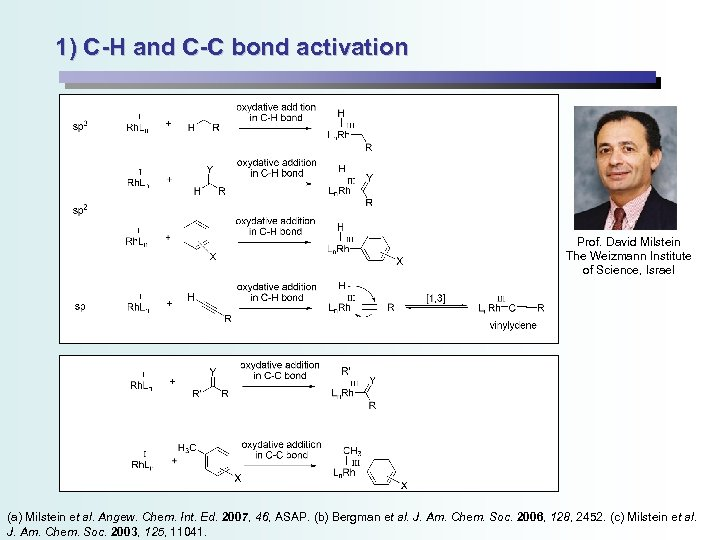 1) C-H and C-C bond activation Prof. David Milstein The Weizmann Institute of Science,
