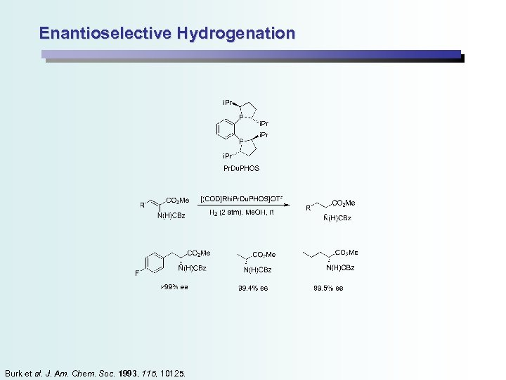 Enantioselective Hydrogenation Burk et al. J. Am. Chem. Soc. 1993, 115, 10125.