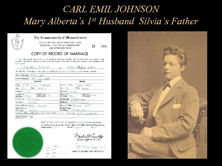 CARL EMIL JOHNSON Mary Alberta's 1 st Husband Silvia's Father