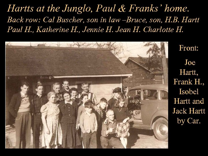 Hartts at the Junglo, Paul & Franks' home. Back row: Cal Buscher, son in