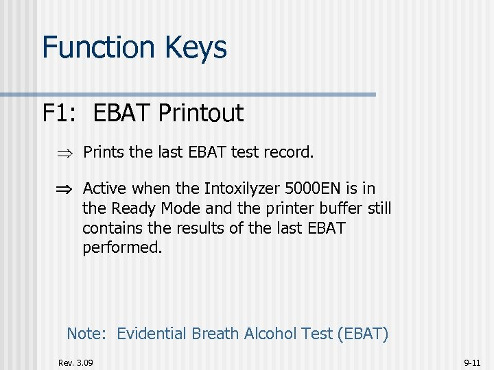 Function Keys F 1: EBAT Printout Prints the last EBAT test record. Active when