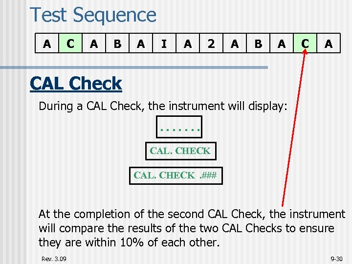 Test Sequence A C A B A I A 2 A B A CAL
