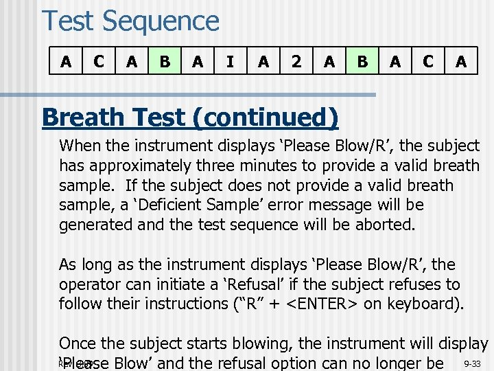 Test Sequence A C A B A I A 2 A B A C
