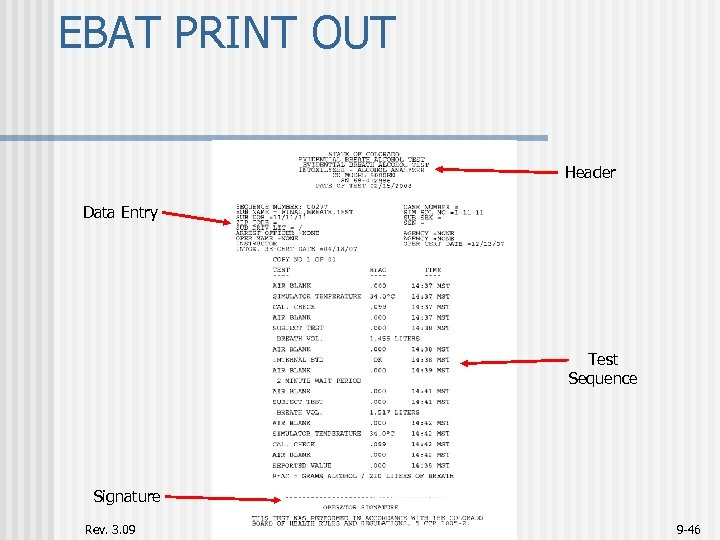 EBAT PRINT OUT Header Data Entry Test Sequence Signature Rev. 3. 09 9 -46