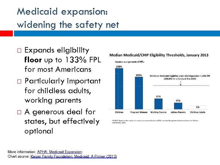 Medicaid expansion: widening the safety net Expands eligibility floor up to 133% FPL for