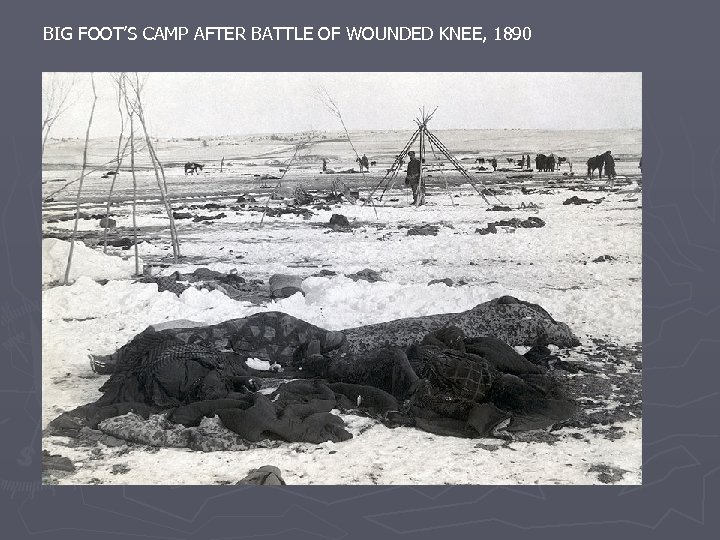 BIG FOOT'S CAMP AFTER BATTLE OF WOUNDED KNEE, 1890