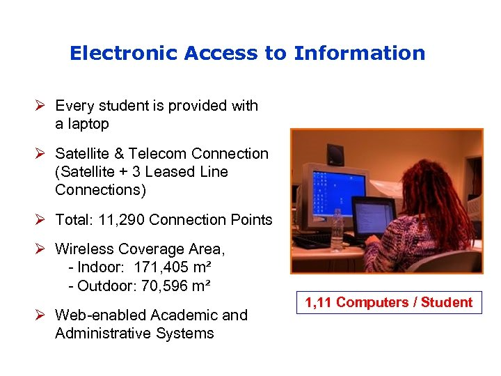 Electronic Access to Information Ø Every student is provided with a laptop Ø Satellite