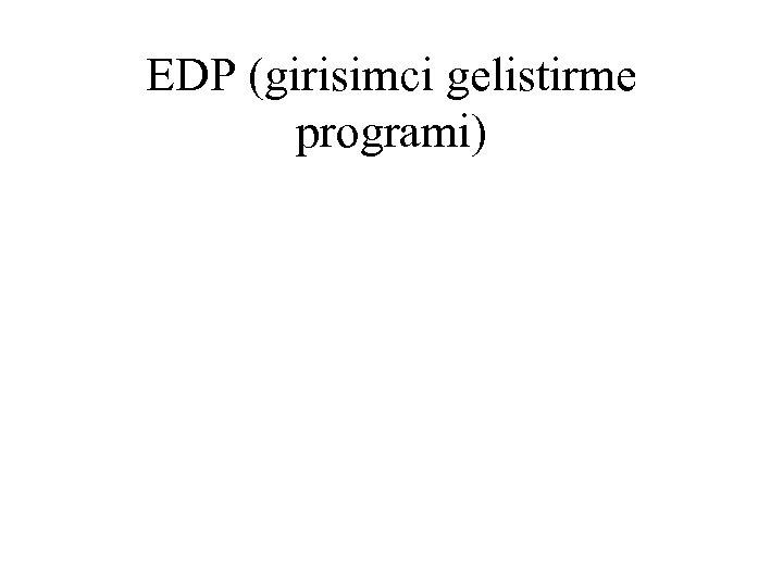 EDP (girisimci gelistirme programi)
