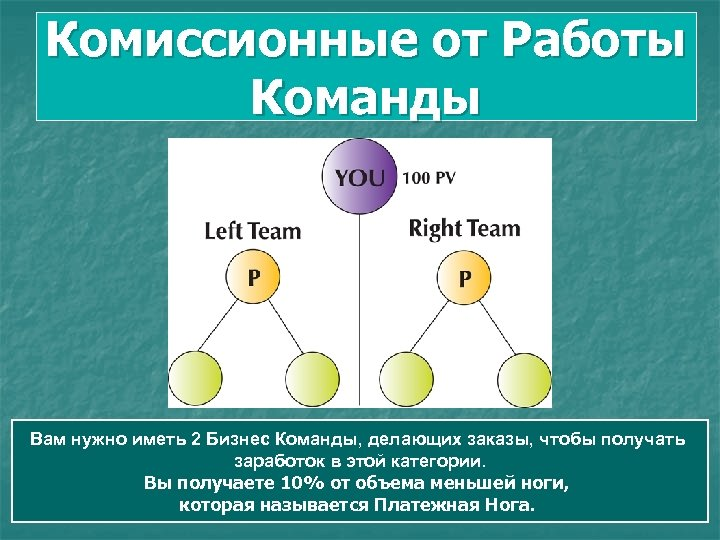 Комиссионные от Работы Команды Вам нужно иметь 2 Бизнес Команды, делающих заказы, чтобы получать