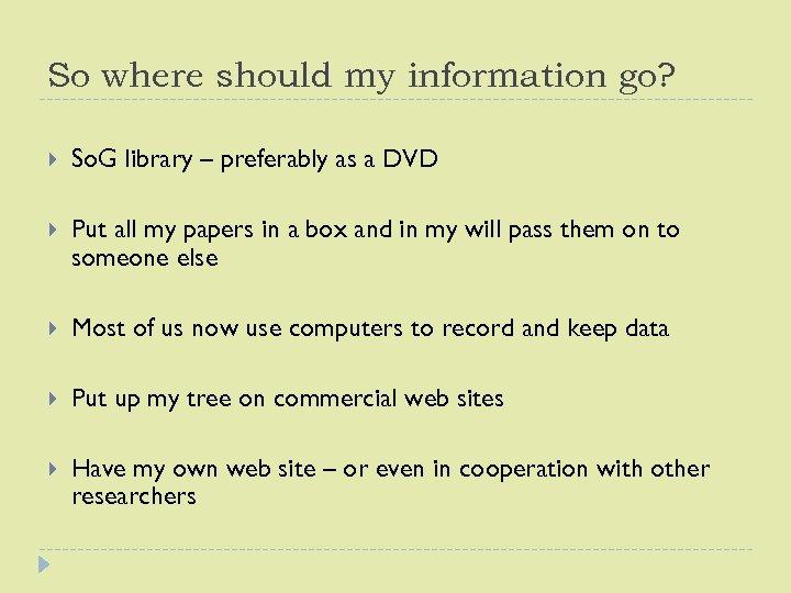 So where should my information go? So. G library – preferably as a DVD