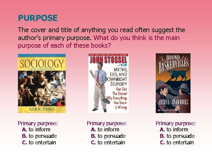 PURPOSE The cover and title of anything you read often suggest the author's primary