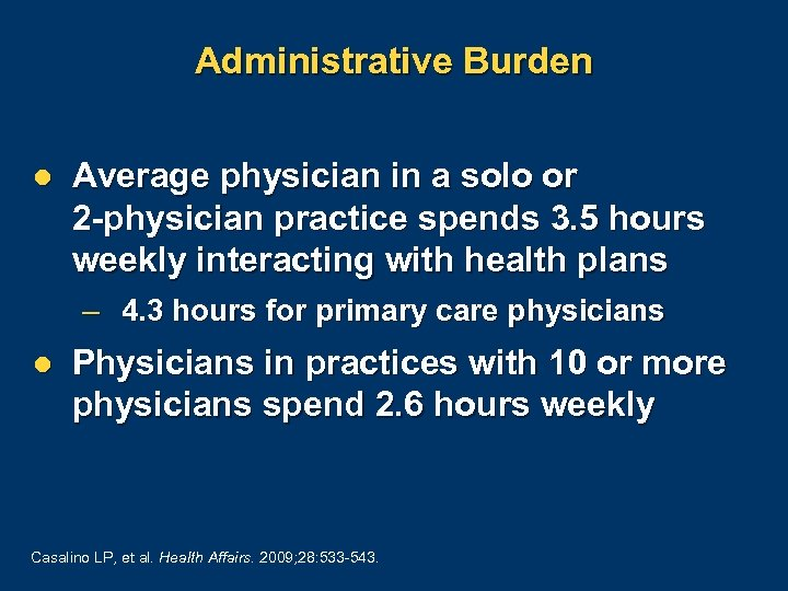 Administrative Burden l Average physician in a solo or 2 -physician practice spends 3.