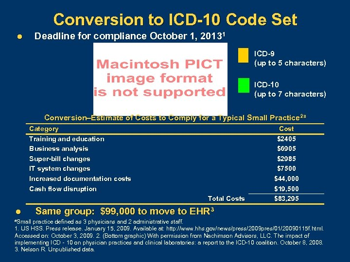Conversion to ICD-10 Code Set Deadline for compliance October 1, 20131 l ICD-9 (up
