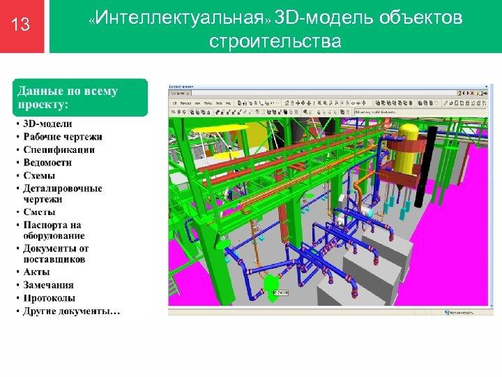 13 «Интеллектуальная» 3 D-модель строительства объектов