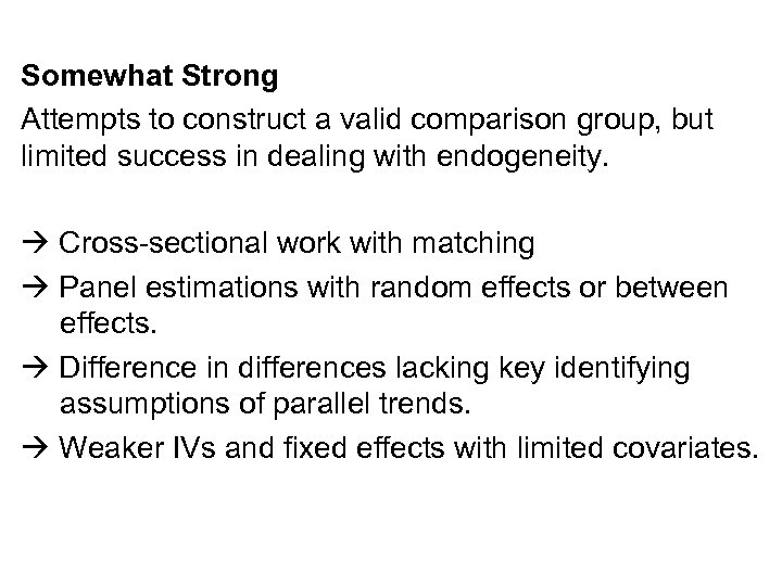 Somewhat Strong Attempts to construct a valid comparison group, but limited success in dealing