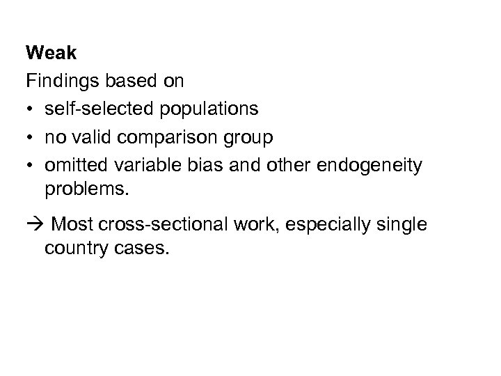 Weak Findings based on • self-selected populations • no valid comparison group • omitted
