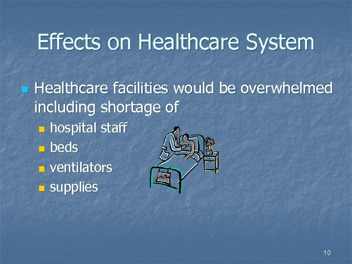 Effects on Healthcare System n Healthcare facilities would be overwhelmed including shortage of hospital