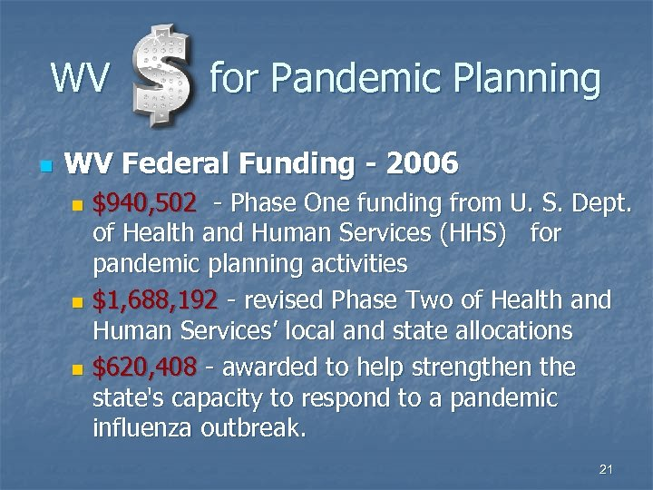 WV n for Pandemic Planning WV Federal Funding - 2006 $940, 502 - Phase