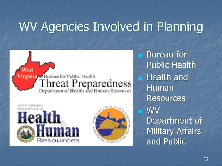 WV Agencies Involved in Planning n n n Bureau for Public Health and Human