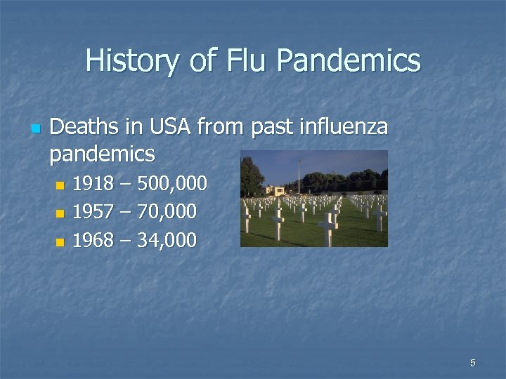 History of Flu Pandemics n Deaths in USA from past influenza pandemics 1918 –