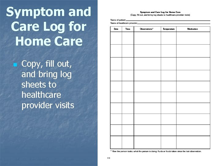 Symptom and Care Log for Home Care n Copy, fill out, and bring log