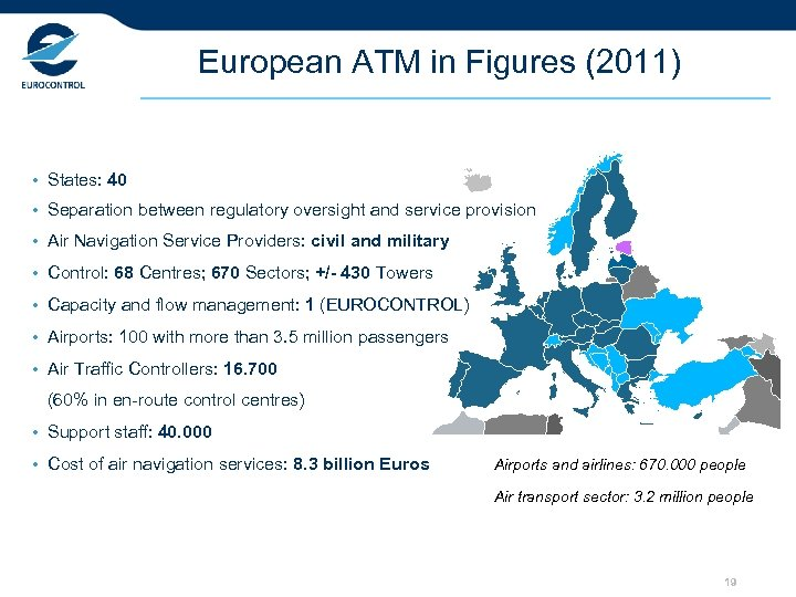 European ATM in Figures (2011) • States: 40 • Separation between regulatory oversight and