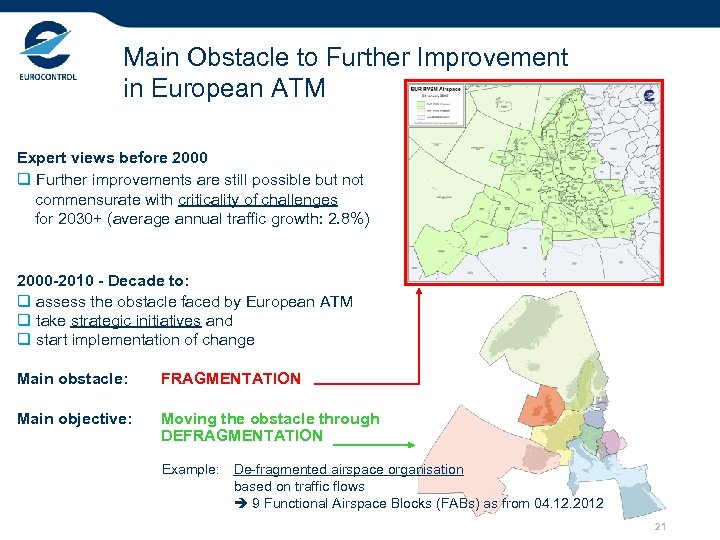 Main Obstacle to Further Improvement in European ATM Expert views before 2000 q Further