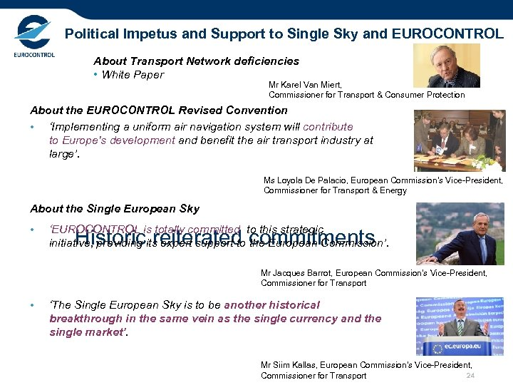 Political Impetus and Support to Single Sky and EUROCONTROL About Transport Network deficiencies •
