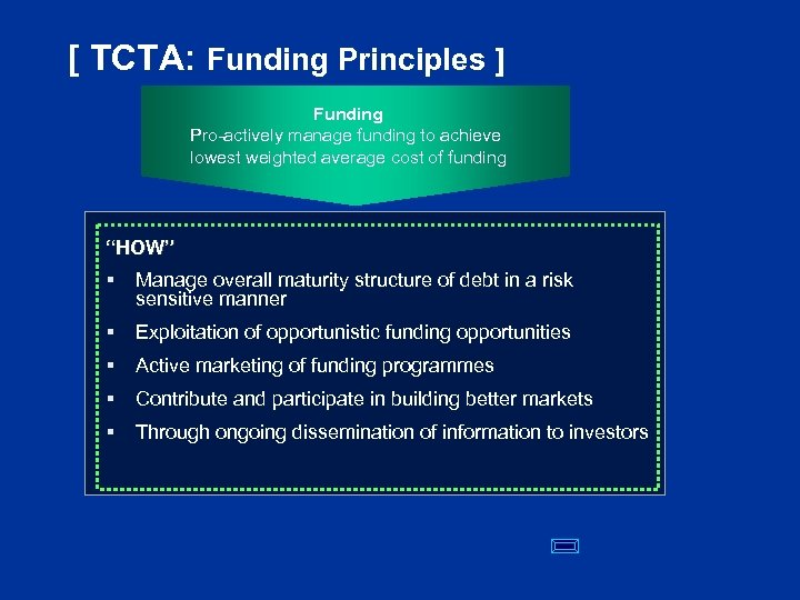 [ TCTA: Funding Principles ] Funding Pro-actively manage funding to achieve lowest weighted average