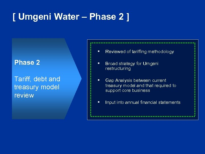 [ Umgeni Water – Phase 2 ] § Phase 2 Tariff, debt and treasury