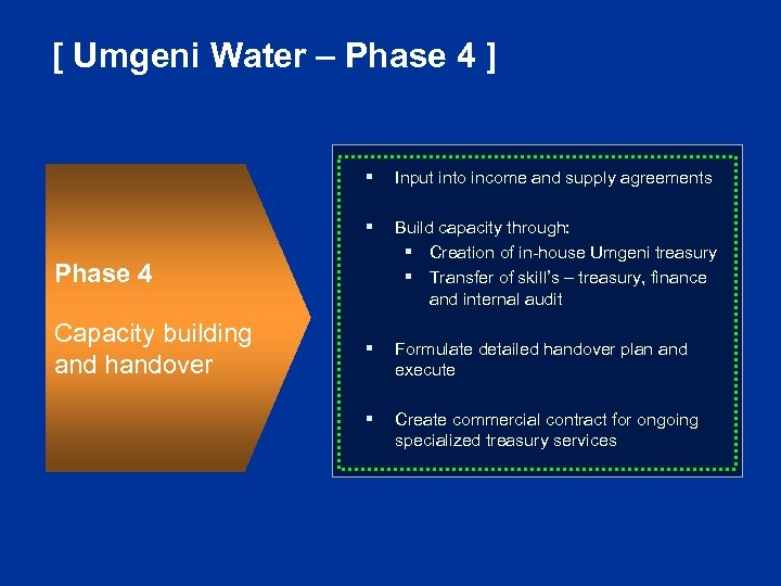 [ Umgeni Water – Phase 4 ] § Input into income and supply agreements