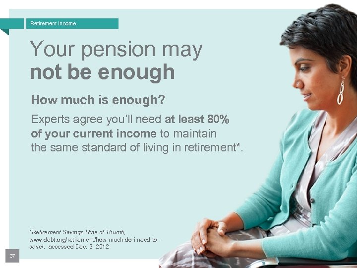 Retirement Income Your pension may not be enough How much is enough? Experts agree