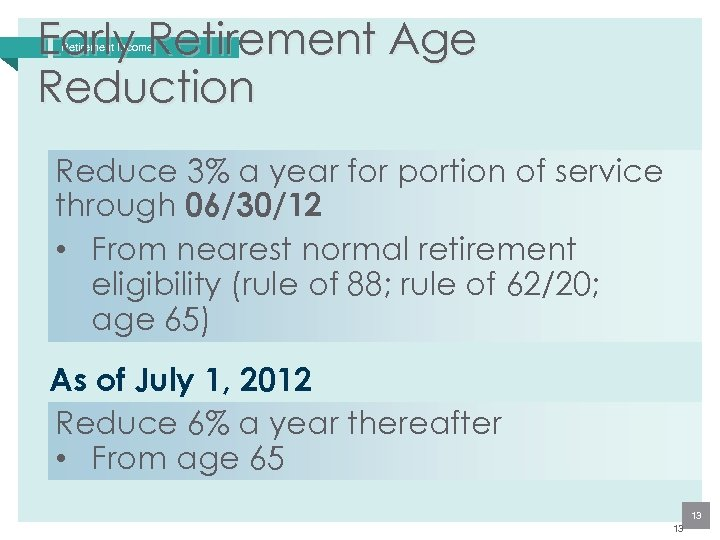 Early Retirement Age Reduction Retirement Income Reduce 3% a year for portion of service