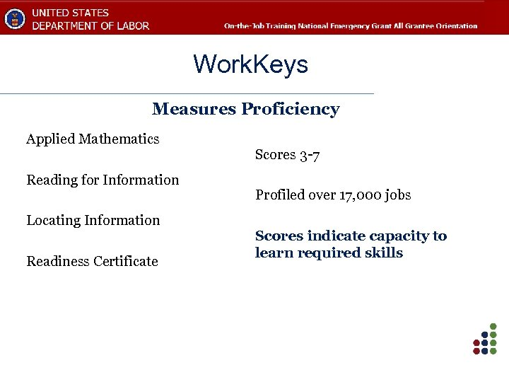 Work. Keys Measures Proficiency Applied Mathematics Reading for Information Locating Information Readiness Certificate Scores