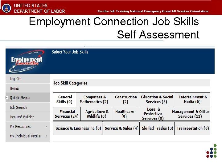 Employment Connection Job Skills Self Assessment
