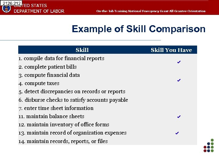 Example of Skill Comparison Skill 1. compile data for financial reports 2. complete patient