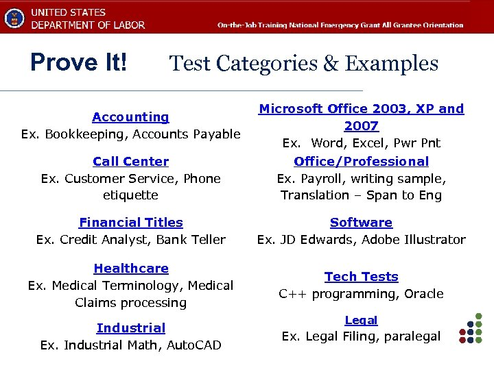 Prove It! Test Categories & Examples Accounting Ex. Bookkeeping, Accounts Payable Microsoft Office 2003,