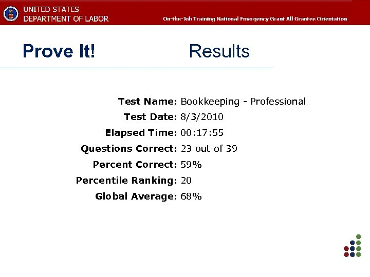 Prove It! Results Test Name: Bookkeeping - Professional Test Date: 8/3/2010 Elapsed Time: 00: