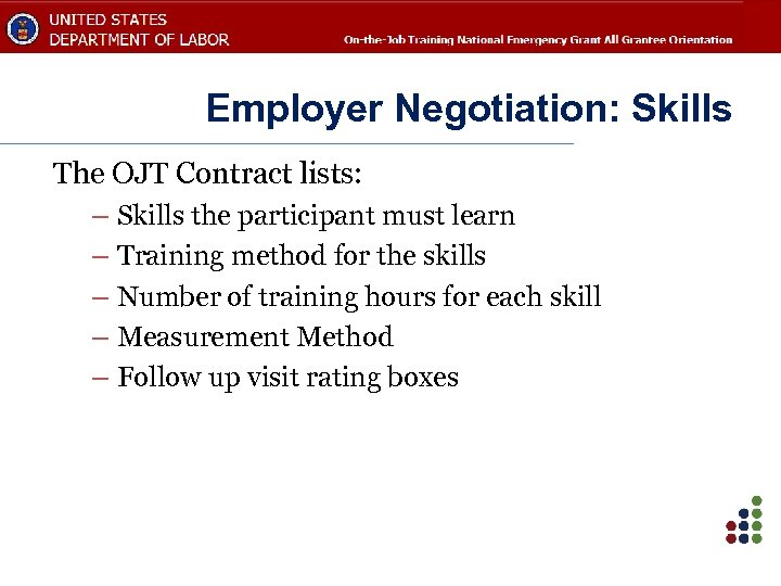 Employer Negotiation: Skills The OJT Contract lists: – Skills the participant must learn –