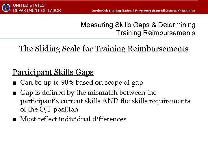 Measuring Skills Gaps & Determining Training Reimbursements The Sliding Scale for Training Reimbursements Participant