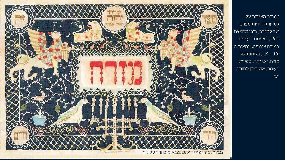 מנורות מצוירות על קמיעות יהודיות מפרס ועד למגרב, רובן מהמאה ה-81, באמנות העממית