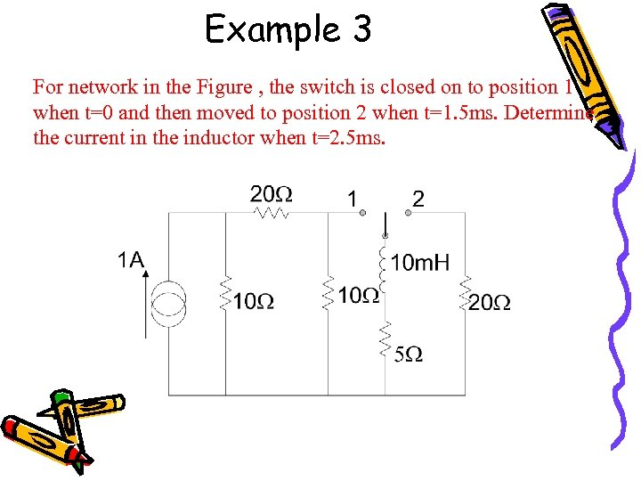 Example 3 For network in the Figure , the switch is closed on to
