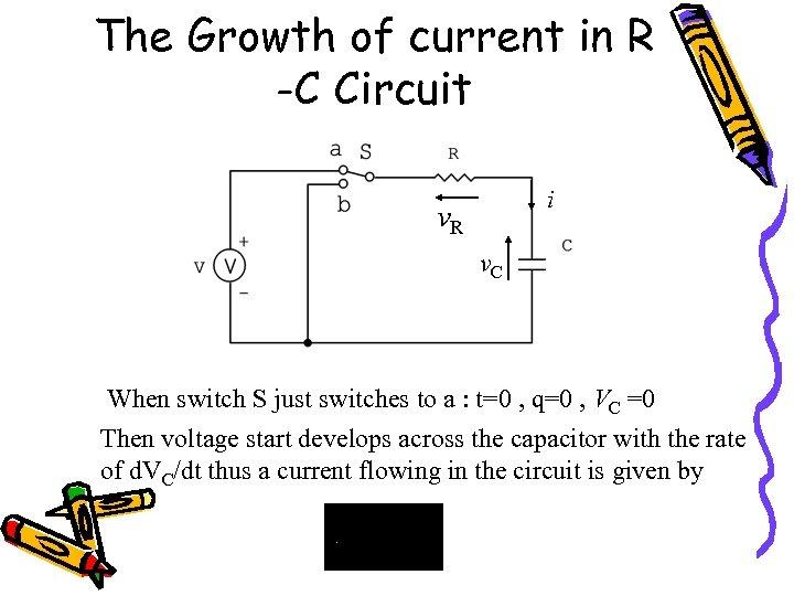 The Growth of current in R -C Circuit i v. R v. C When